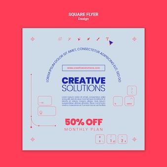 Modelo de flyer quadrado para soluções de negócios criativos