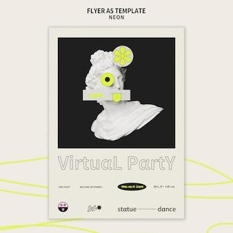 Modelo de flyer vertical para festa neon