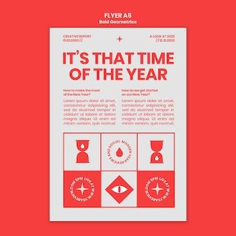 Modelo de flyer vertical para revisão e tendências de ano novo