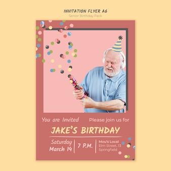 Modelo de folheto a4 convite de aniversário sênior