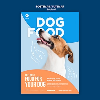 Modelo de folheto a5 de comida de cachorro