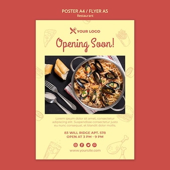 Modelo de folheto - abrindo em breve restaurante