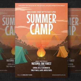 Modelo de folheto - acampamento de verão