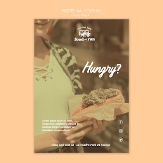 Modelo de folheto - anúncio de caminhão de comida