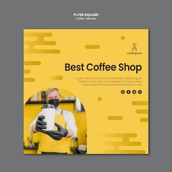 Modelo de folheto ao quadrado café conceito