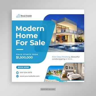Modelo de folheto - banner de mídia social de venda em casa moderna