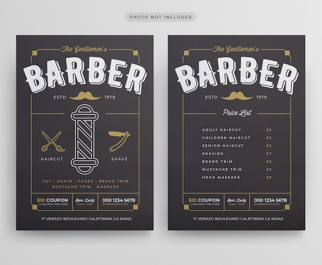 Modelo de folheto - barbearia