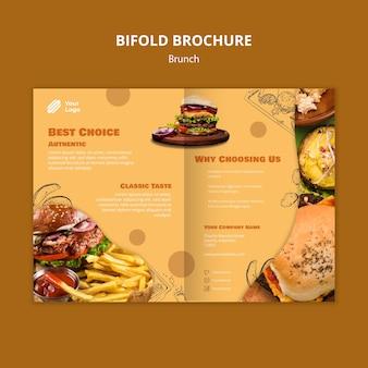 Modelo de folheto bifold para brunch