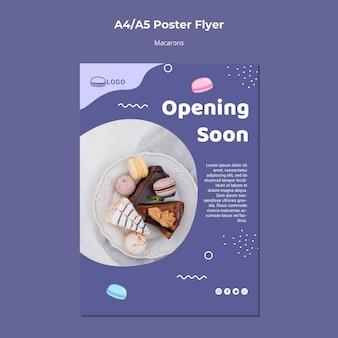 Modelo de folheto - cartaz do conceito de macarons