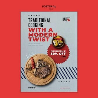 Modelo de folheto - churrasco de cozinha tradicional