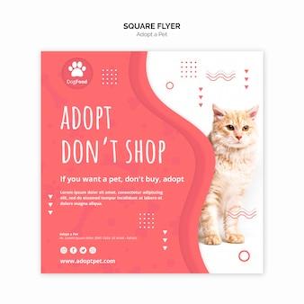 Modelo de folheto com adotar o tema do animal de estimação