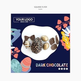Modelo de folheto com chocolate escuro para a páscoa