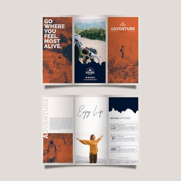 Modelo de folheto com conceito de aventura