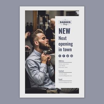 Modelo de folheto com conceito de barbeiro