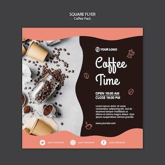 Modelo de folheto com conceito de café