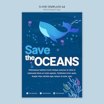 Modelo de folheto com conceito de dia mundial do oceano