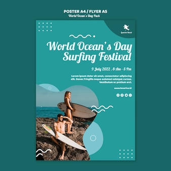 Modelo de folheto com conceito de dia mundial dos oceanos