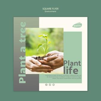 Modelo de folheto com design de ambiente