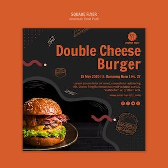 Modelo de folheto com design de comida americana