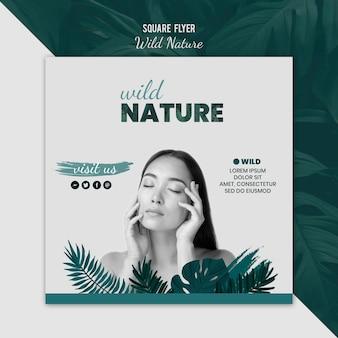 Modelo de folheto com design de natureza selvagem