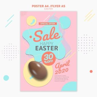 Modelo de folheto com design de venda do dia de páscoa