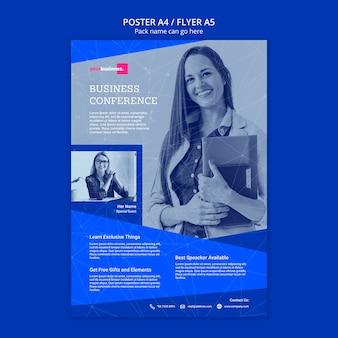 Modelo de folheto com mulher de negócios