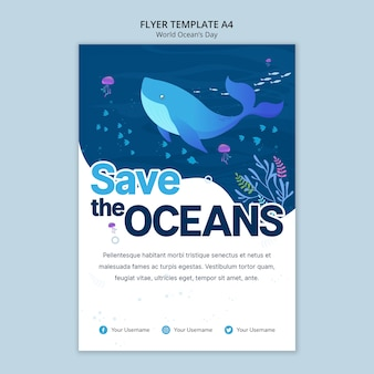 Modelo de folheto com o dia mundial do oceano