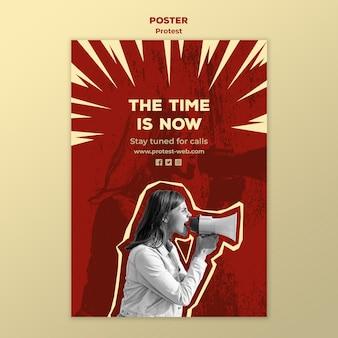Modelo de folheto com protestando pelos direitos humanos