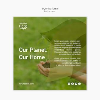 Modelo de folheto com tema de ambiente