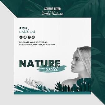 Modelo de folheto com tema de natureza selvagem