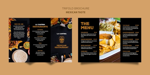 Modelo de folheto com três dobras de restaurante mexicano