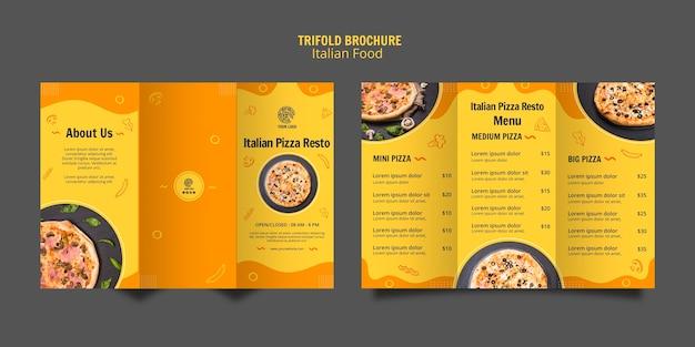 Modelo de folheto com três dobras para bistrô de comida italiana