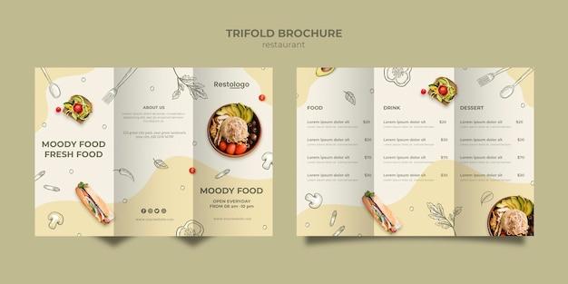 Modelo de folheto com três dobras para restaurante