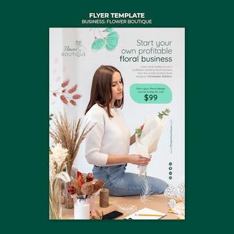 Modelo de folheto comercial de boutique de flores
