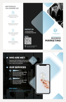 Modelo de folheto comercial psd para uma empresa de marketing