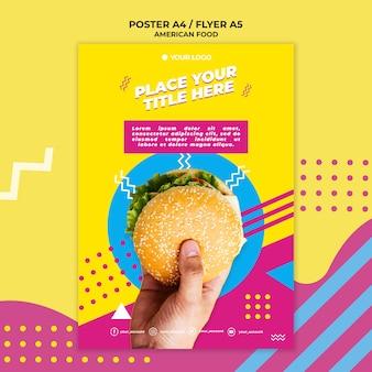 Modelo de folheto - comida americana