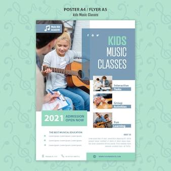 Modelo de folheto - conceito de aulas de música para crianças
