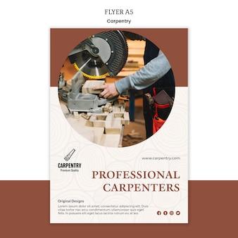 Modelo de folheto - conceito de carpintaria