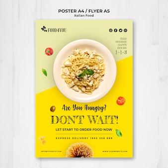 Modelo de folheto - conceito de comida italiana