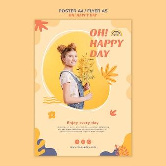 Modelo de folheto - conceito de dia feliz