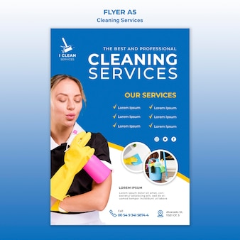 Modelo de folheto - conceito de serviço de limpeza