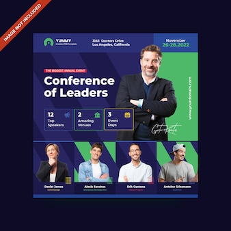 Modelo de folheto - conferência quadrado