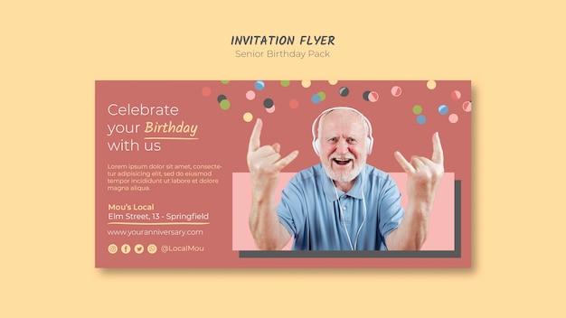 Modelo de folheto - convite de aniversário sênior