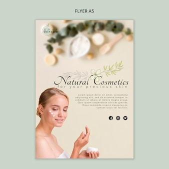 Modelo de folheto - cosméticos naturais