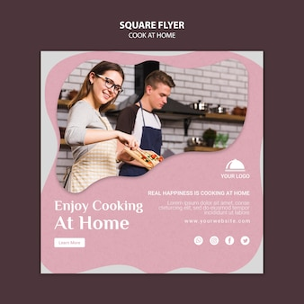 Modelo de folheto - cozinhar em casa quadrado