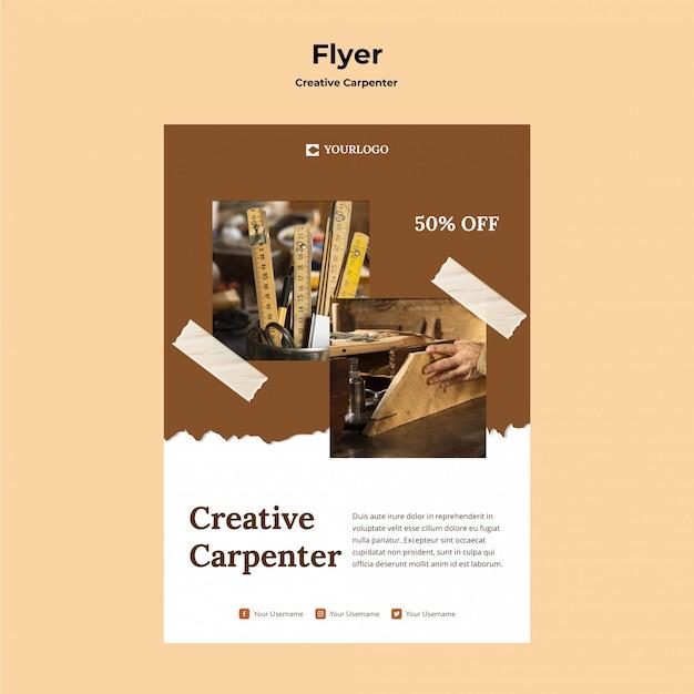 Modelo de folheto criativo de carpinteiro