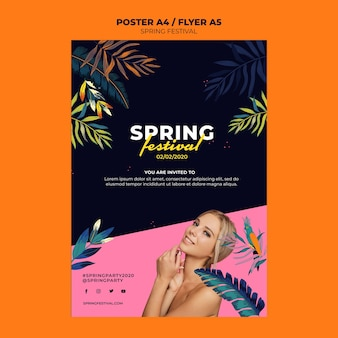 Modelo de folheto criativo festival primavera