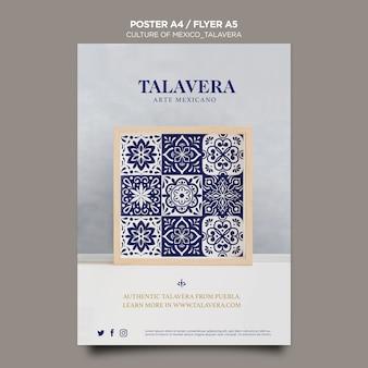 Modelo de folheto da cultura mexicana talavera