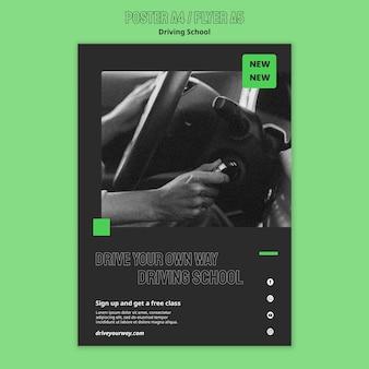 Modelo de folheto da escola de direção