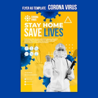Modelo de folheto da pandemia de coronavírus
